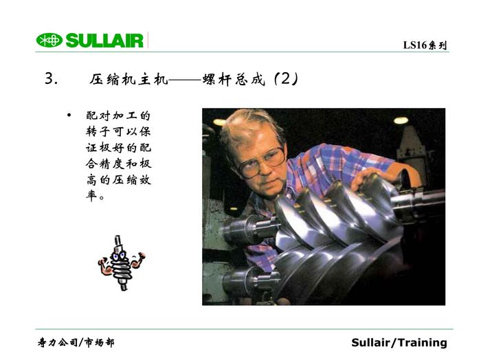 3. 壓縮機主機——螺桿總成(2) ? 配對加工的 轉子可以保 證極好的配 合精度和極 高的壓縮效 率。
